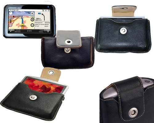 Leather Case Medion: GPS carry case for satellite navigational systems: Serie GoPal P4425, GoPal E4125 E4125, GoPal P4225 WEU, GoPal P4420 EU, GoPal P4225, E4430 MD 96960 E4435 MD96797.. - see description by Spartechnik