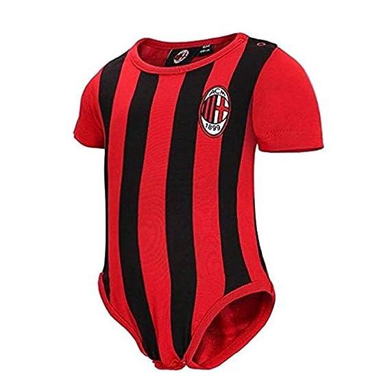 Body Neonato Milan Rosso Nero Ufficiale Personalizzabile Nome e Numero PS 12685