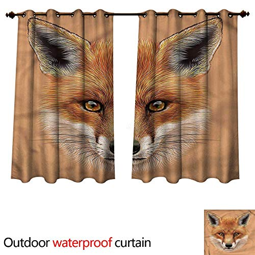 - cobeDecor Fox 0utdoor Curtains for Patio Waterproof Cute Fluffy Face Forest W63 x L63(160cm x 160cm)