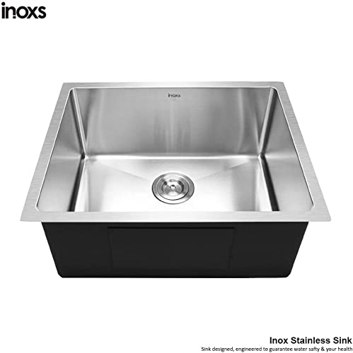Inoxs 23 x 18 x 10 Undermount Single Bowl 18 Gauge Handmade Stainless Steel Kitchen Sink I-US2318