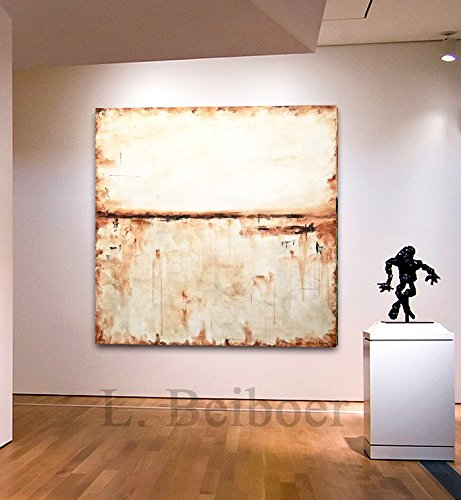 Original 48 x 48 Large Square Abstract Painting Cream Brown Contemporary Art Modern Acrylic Painting handmade by L.Beiboer