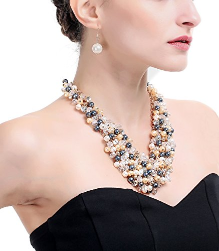 (Hanpabum Big Faux Pearl Multi Strand Necklace Earring Jewelry Sets for Women Adjustable)