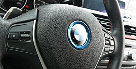 Blue F20 F21 F22 F23 F30 F31 F32 F33 F35 F36 F10 F11 F12 F13 F26 F15 F16 《 BAR Autotech 》 Decorative Aluminum Steering Center Wheel Logo Trim Ring Cover For 10-up BMW 1 2 3 4 5 6 Series X4 X5 X6