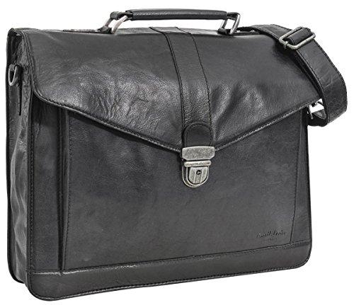 """Businesstasche Gusti Leder studio """"Paxton"""" Aktentasche Lehrertasche große elegante Laptoptasche 15,6"""" Arbeitstasche Wasserfestes Innenfutter Bürotasche Dokumententasche Schwarz 2B10-20-6wp"""