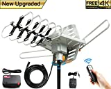 Outdoor Amplified TV Antenna 150 Mile 360 Rotate Support 2TVs HD UHF/VHF Channel