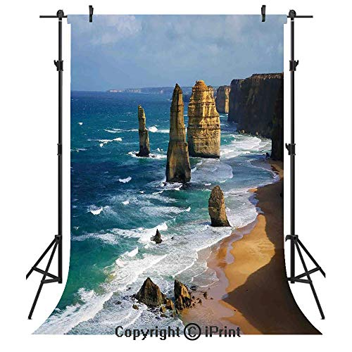 Coastal Decor Photography Backdrops,12 Apostles in Australia Rock Face Lookout by The Sea Sightseeing Panoramic Picture,Birthday Party Seamless Photo Studio Booth Background Banner 6x9ft, -