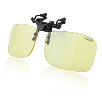 1fefd8dfe0c Duco Optiks Clip on Rimless Ergonomic Advanced Computer Glasses with Amber  Tint Lens (55mm Amber
