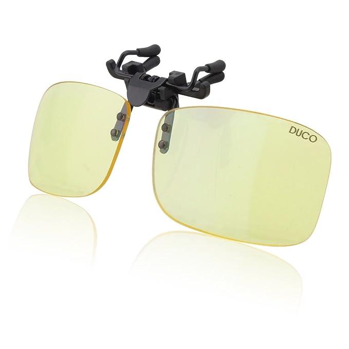 feab395fc7 DUCO ordenador jugador gafas clip en flip-up gafas azul filtro de luz UV  bloqueo filtro alivio ocular digital cepa con protección  antideslumbramiento 8013: ...