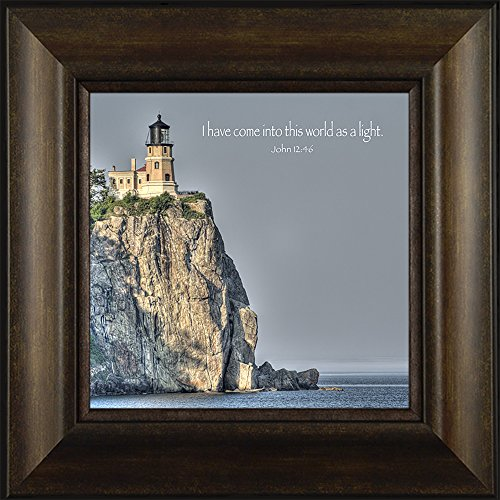 Light of the World By Todd Thunstedt 20x20 Split Rock Lighthouse Lighthouse North Shore Drive Religious Lutheran Catholic Bible Verse Quote Saying Jesus Christ God Framed Art Print Wall Décor Picture