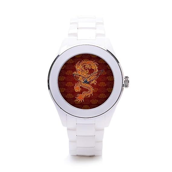 queenslandmen sceramic correa de reloj, diseño de dragón elegante relojes dragones chinos
