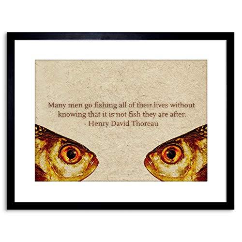 Quote Thoreau Fishing Men Life Advice Framed Wall Art Print
