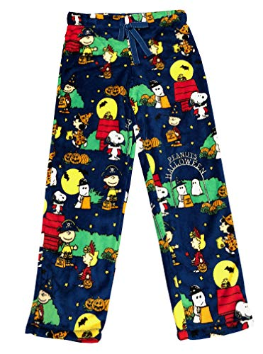 Peanuts Halloween Snoopy Charlie Brown Women's Pajama Minky Fleece Sleep Pants, Blue (Blue, X-Large / 16-18) -