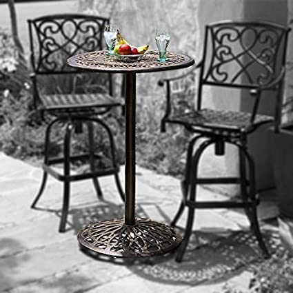 Amazon.com : Great Deal Furniture Paris Cast Aluminum Outdoor Bar ...