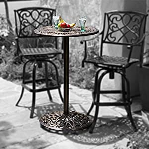 paris cast aluminum outdoor bar height bistro table chairs are not included