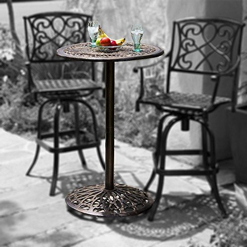 Paris Cast Aluminum Outdoor Bar Height Bistro Table (chairs are not included) (Bar Bistro Set)