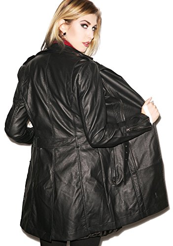 Tripp NYC Gothic Punk Rocker Faux Leather Vegan Leather PVC Vinyl Moto Biker Trench Jacket Coat (M)