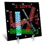 3dRose Alexis Design - Positive - Film Genres titles on color films. I love them all on black - 6x6 Desk Clock (dc_273744_1)