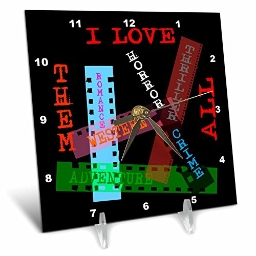 3dRose Alexis Design - Positive - Film Genres titles on color films. I love them all on black - 6x6 Desk Clock (dc_273744_1) by 3dRose