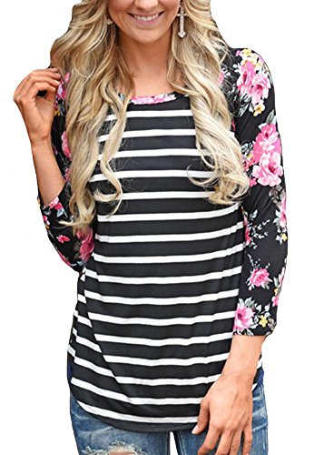 KufvWomens Prints Florals 3/4 Sleeve Crew Neck Top Tshirt (L, Black (Stripe Raglan Tee)