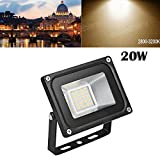 LED Flood Light,20W 2000lm 2800-3500K Warm White,IP65 Waterproof,Aluminium Strahler 110V Outdoor Super Bright Security Lights,Stadium Lights for Garden,Garage,Warehouse,Square,Billboard,Factory