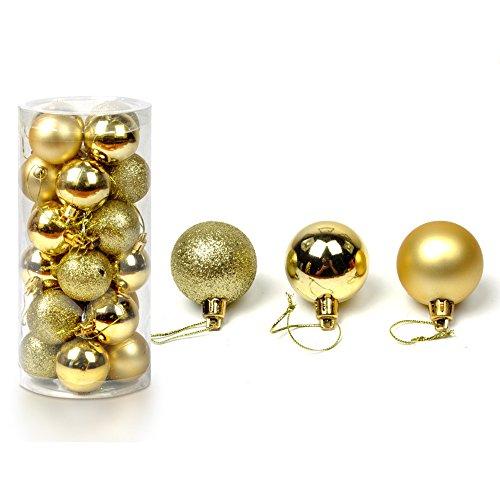 24pcs Mixed Christmas Party Ornaments Xmas Tree Hanging Decor Gold #10 - 1