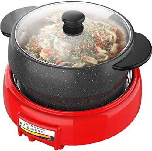 Pot rond coréen barbecue pot chaud une marmite électrique pierre Maifan anti-adhésif barbecue pot séparé de pot multifonction HAOSHUAI