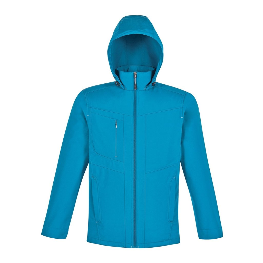 North End Forecast Mens 3-Layer Bonded Travel Soft Shell Jacket (Small, Blue Ash/Platinum)