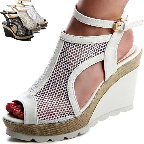 topschuhe24 520 Damen Pumps Sandalen Keilabsatz Beige