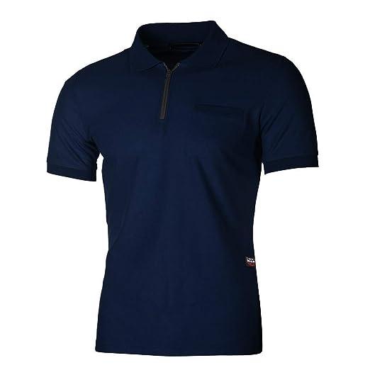 YpingLonk_ Camisetas de Hombre Polo Shirt, Color Sólido La Solapa Hort Sleeve Cremallera con Bolsillo Cosiendo Clásico tee Estilo Business Oficina Hombre ...