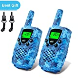 E-wor Walkie Talkies For Kids ,22 Channels FRS/GMRS UHF Kids Walkie Talkies, 2 Way Radios 4 Miles Walkie Talkies Kids Toys With Flashligh,1 pair,Camo Blue