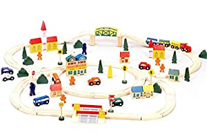 Conductor Carl 100-Piece Wooden Train Track Town Starter Set