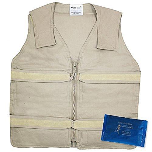 Vest Kool (Lightweight Kool Max?Zipper Front Vest (M/L, Khaki) by Polar Products)