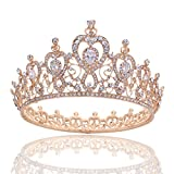 Stuff Crystal Zircon Bridal Tiara Crown Wedding Bride Princess Full Crown (A Style Gold)