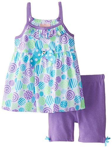 Little Lass Little Girls' Printed Knit Tunic Top Bike Short Set, Purple, 2T