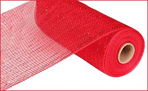 10 Inch x 30 feet Deco Poly Mesh Ribbon  Metallic Red and Red Foil : RE130124