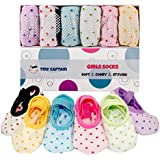 Toddler Girl Baby Socks Gift For 1-3 Year Old Girls, Anti Slip Grip Non Skid Ballet Sock With Strap Best Age 1 Girls Gifts 12-24 Month From Tiny Captain (Pink, Blue, Green, Yellow, Purple, White)