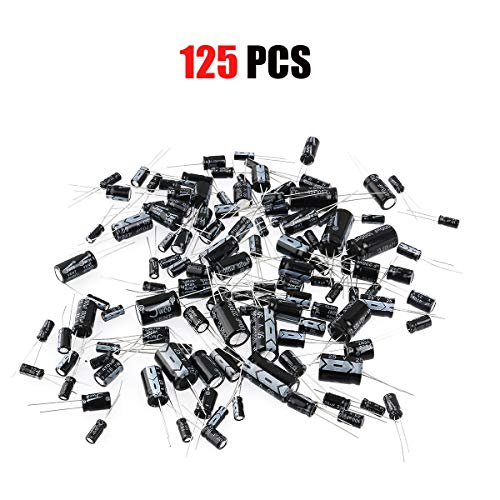 (Foxnovo 125pcs 25 Values Total Electrolytic Capacitors Assortment Kit Set 1uF to 2200uF (Black) )