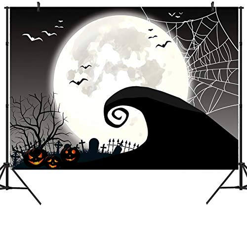 Halloween Horror Nights Commercial (DULUDA 7x5ft Halloween Nightmare Themed Backdrop Horror Night Full Moon Pumpkin Birthday Party Wall Table Décor Spider Web Flying Bat Photography Backdground Photo Booth Props)