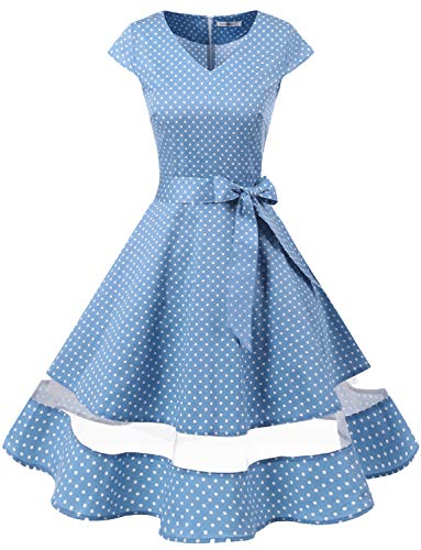 Gardenwed Women's 1950s Rockabilly Cocktail Party Dress Retro Vintage Swing Dress Cap-Sleeve V Neck Blue Small White Dot XS]()