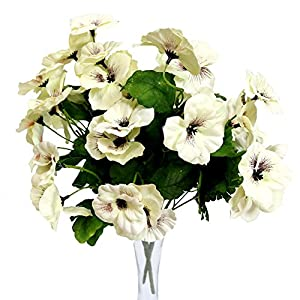 Silk Flower Arrangements Htmeing 17 Inch Artificial Pansy Flowers Home Office Wedding Decoration (White)
