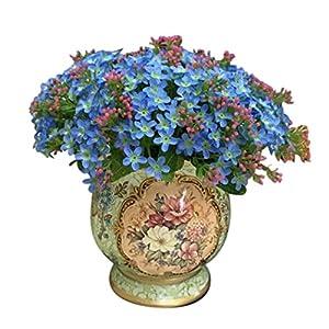 Polytree Artificial Bouquet of Forget Me Not,Little Flower Silk Flowers Party Bridal Bouquet Home Decor 72 Heads - Sky Blue 8