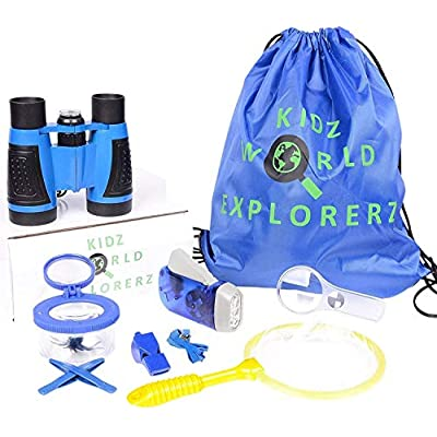 OLIVIA & AIDEN Outdoor Exploration Kit – 8 Piece Kids Binoculars Set, Great Kids Gift Set for Nature Exploration, Camping and Educational Play: Toys & Games