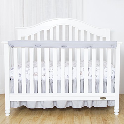 TILLYOU 1-Pack Padded Baby Crib Rail Cover Protector Safe Teething Guard Wrap for Long Front Crib Rails(Measuring Up to 8'' Around), 100% Silky Soft Microfiber Polyester, Reversible, White/Pale Gray by TILLYOU