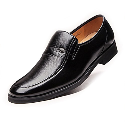 BMD-Shoes Scarpe di pelle, Scarpe da uomo classiche Mocassini in pelle PU Slip-on Soft Sole Business Oxford foderato traspirante (Color : Marrone, Dimensione : 44 EU) Nero