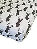 Danha Premium Fitted Cotton Crib Sheet White With Grey Deer Print – Standard Crib Mattress Size – Toddler, Kids Bedding – Woodland Animals Nursery Décor Theme