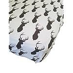 Danha-Premium-Fitted-Cotton-Crib-Sheet-White-With-Grey-Deer-Print-Standard-Crib-Mattress-Size-Toddler-Kids-Bedding-Woodland-Animals-Nursery-Dcor-Theme