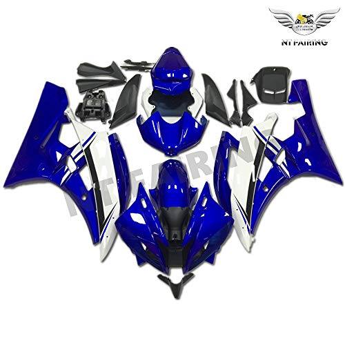 (NT FAIRING Glossy Blue White Injection Mold Fairing Fit for Yamaha 2006 2007 YZF R6 New Painted Kit ABS Plastic Motorcycle Bodywork Aftermarket)