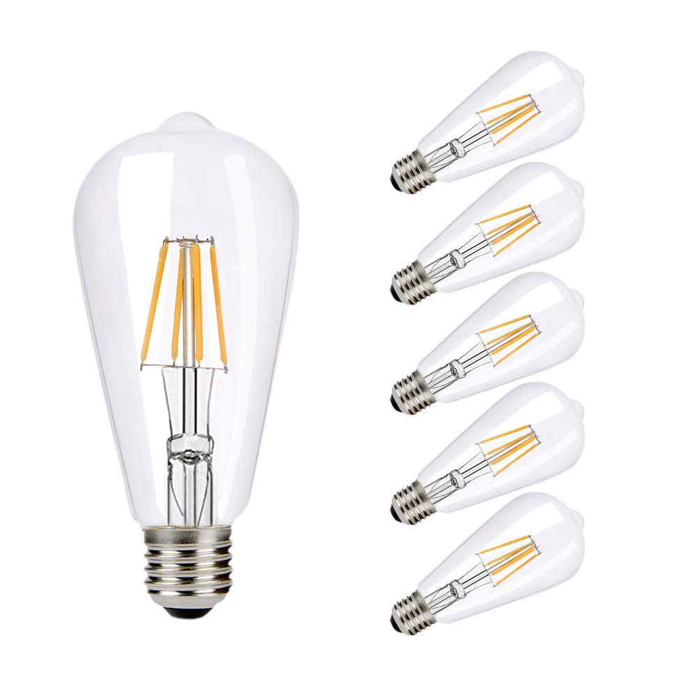 B2ocled 6X LED Edison Bulbs E27 Vintage Screw Lights Antique ST64 Filament Lamp 8W(60W) Warm White