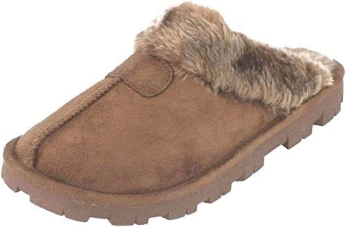 Womens Faux Suede Furry Mules Slipper