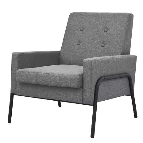 binzhoueushopping sillón de Acero y Tela Gris Claro diseño ...